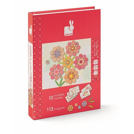 Магнитная  игра Janod Цветы 113 магнитов, 5 карточек