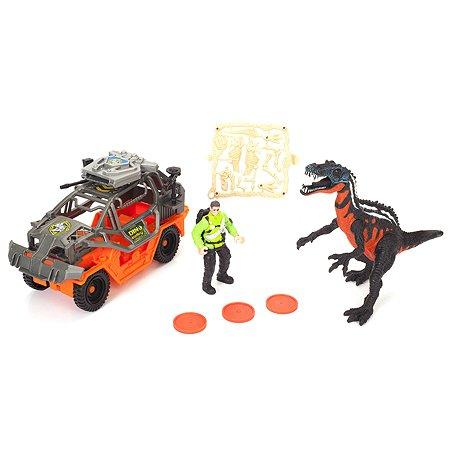Игровой набор Chapmei Динозавр Барионикс и охотник на джипе