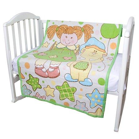 Одеяло байковое Baby Nice 100х140 Девочка с мишкой (салатовое)