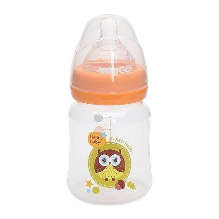 Бутылка Baby Go с широким горлом 150мл Orange B2-7000