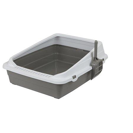Туалет-лоток для кошек Stefan с совком средний M 48х39х18см серый Stefan