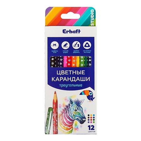 Карандаши цветные Erhaft трехгранные 12 шт KR971273