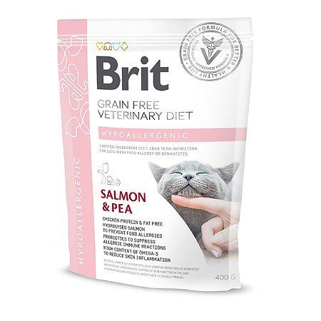 Корм для кошек Brit Veterinary Diet Hypoallergenic беззерновой лосось 400г