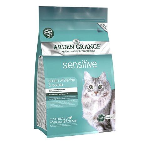 Корм сухой для кошек Arden Grange Adult Sensitive 400г беззерновой с океанической белой рыбой и картофелем