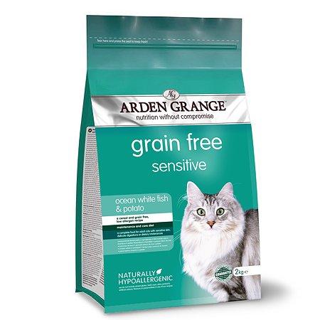 Корм сухой для кошек Arden Grange Adult Sensitive 2кг беззерновой с океанической белой рыбой и картофелем