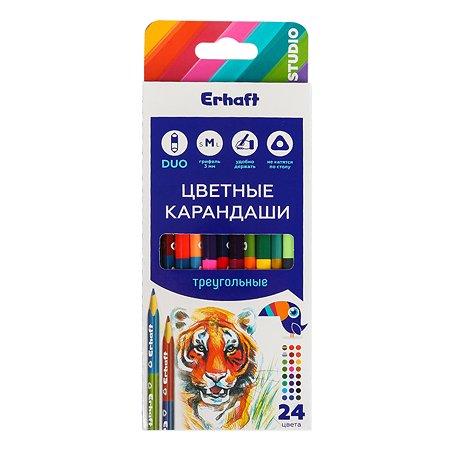 Карандаши цветные Erhaft двусторонние треугольные 24 цвета 12 шт KR971281