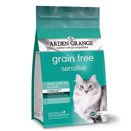 Корм сухой для кошек Arden Grange Adult Sensitive 4кг беззерновой с океанической белой рыбой и картофелем