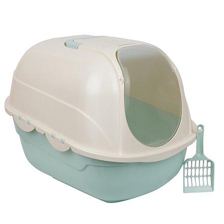 Туалет-домик для кошек Stefan совок в комплекте 53х41х42cm бирюзовый Stefan
