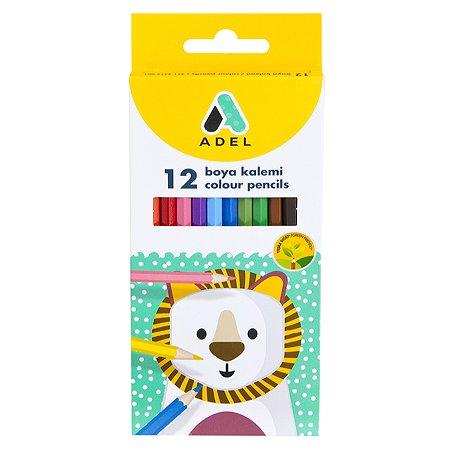 Карандаши цветные Adel шестигранные 12шт 2112315001