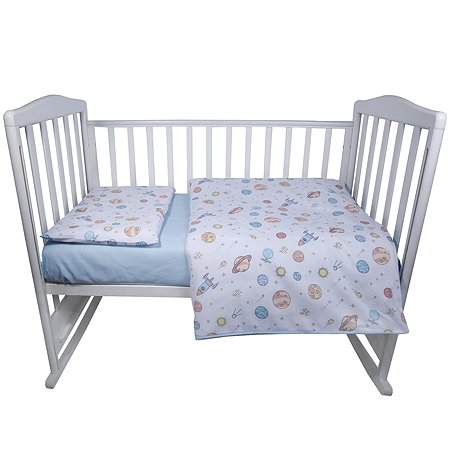 Комплект постельного белья Babyton Космос детский 3 предмета Голубой 10003