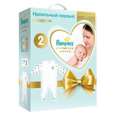 Набор подарочный Pampers Подгузники Premium Care Эконом упаковка Mini 4-8кг 66шт+салфетки влажные Sensitive 12шт+комбинезон 81690596