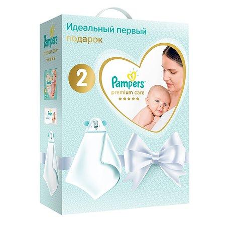 Набор подарочный Pampers Подгузники Premium Care Эконом упаковка Mini 4-8кг 66шт+салфетки влажные Sensitive 12шт+полотенце 81690597