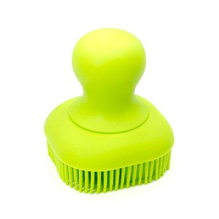 Массажная щетка Stefan для мытья животных с дозатором шампуня силиконовая салатовая Stefan