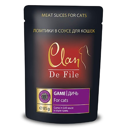 Корм для кошек Clan De File с дичью в соусе гриль консервированный 85г