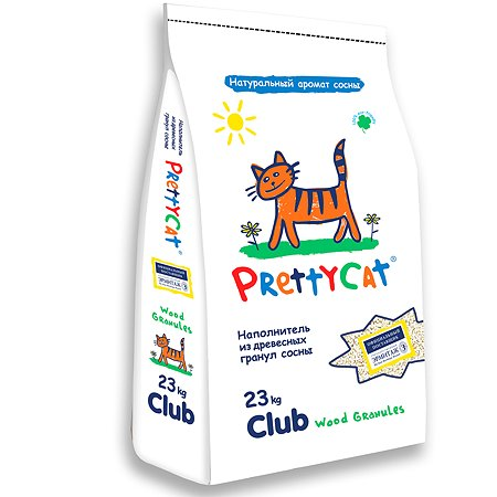 Наполнитель для кошек PrettyCat Wood Granules древесный 23кг