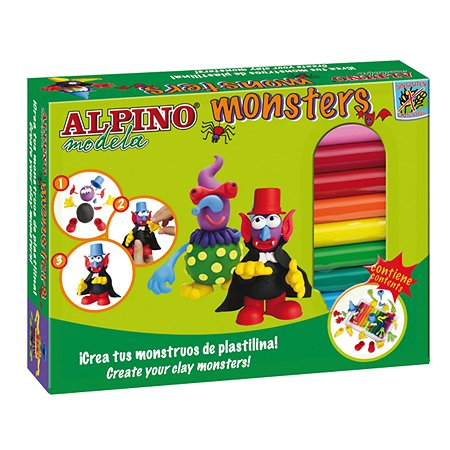 Набор пластилина ALPINO Monsters (Ужастики) 12 цв. 4 комплекта деталей
