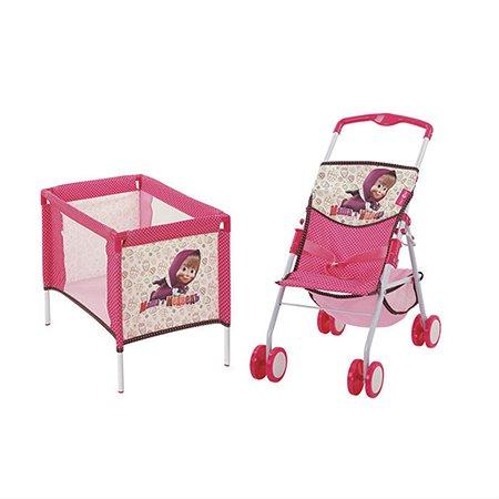 Набор для куклы Маша и Медведь коляска и манеж