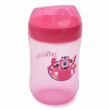 Чашка-непроливайка Dr Brown's 270 мл Розовая с тёмно-розовой крышкой