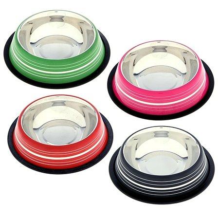 Миска для кошек-собак Ankur с резиновым основанием 0.45л Цветная в ассортименте AEDBNTCRS-02