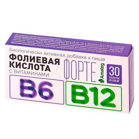 Биологически активная добавка Amateg Кислота фолиевая 200мг с витаминами B6 В12 30таблеток