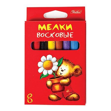 Мелки восковые Hatber Мишка 8цветов KMv_08610