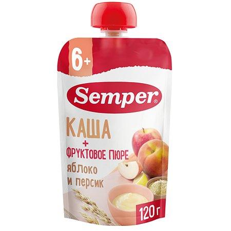 Пюре Semper каша-яблоко-персик пауч 120г 6м