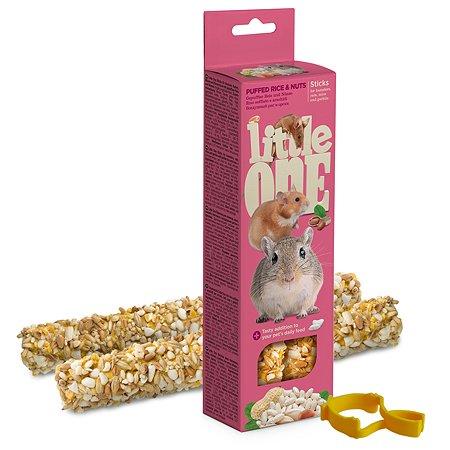 Лакомство для хомяков крыс мышей песчанок Little One Палочки с воздушным рисом и орехами 2шт*55г 99598
