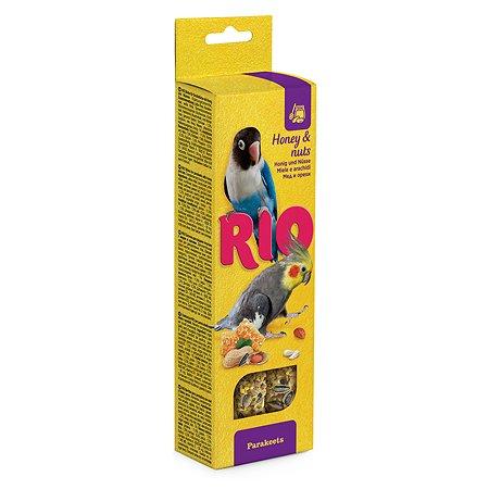 Лакомство для попугаев RIO средних Палочки с медом и орехами 2шт*75г 99773