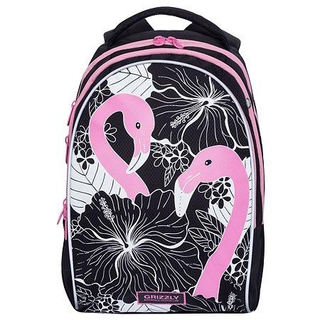 Рюкзак школьный Grizzly Фламинго Черный-Розовый RG-967-1/1