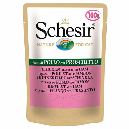 Корм для кошек Schesir куриное филе с ветчиной консервированный 100г