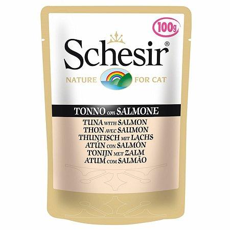 Корм для кошек Schesir тунец с лососем консервированный 100г