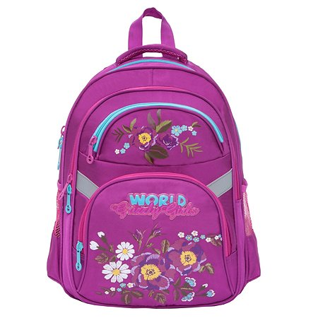 Рюкзак школьный Grizzly Цветы Лиловый RG-865-2/2