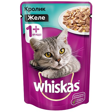 Корм влажный для кошек Whiskas 85г кролик в желе