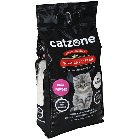 Наполнитель для кошек Catzone комкующийся бэйби паудэр 5.2кг