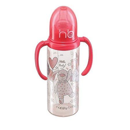 Бутылочка Happy Baby с ручками и с силиконовой соской стандартное горло 250 мл в ассортименте