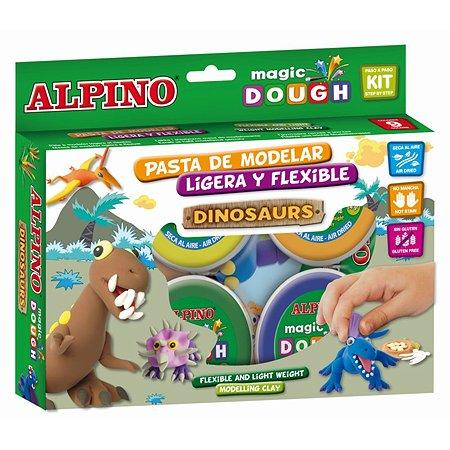 Набор пасты для лепки ALPINO Волшебное тесто (Динозавры) 240 гр 6 цв.