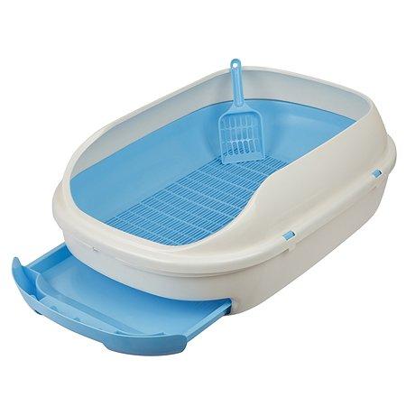 Туалет для кошек Stefan с выдвижным поддоном с совком большой L размер 63х45х21см голубой Stefan