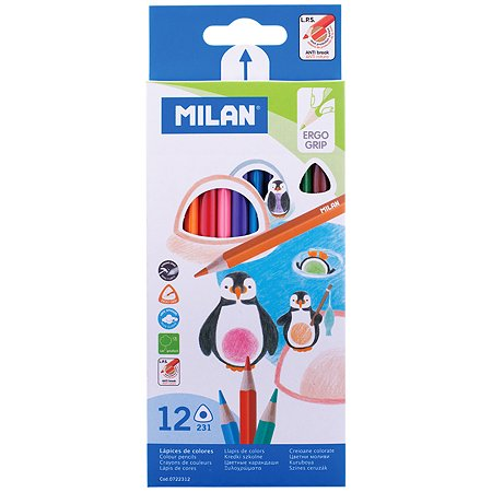 Карандаши цветные MILAN 231 трехгранные 12 цветов