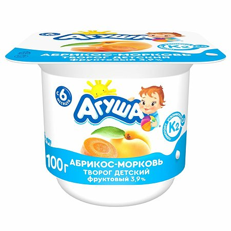 Творог детский фруктовый Агуша абрикос морковь 100г с 6месяцев