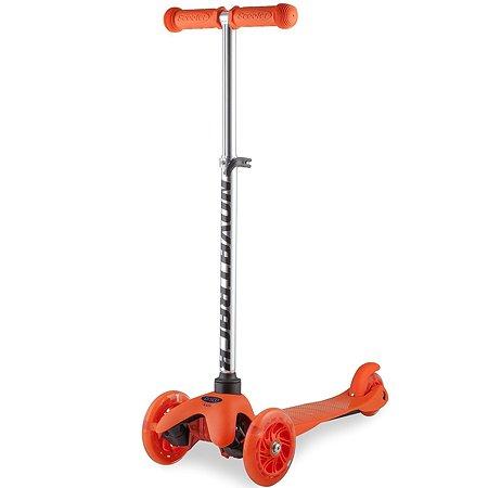 Самокат Novatrack кикборд Disco-kids детский max 50кг мигающие колеса оранжевый 120H.DISCOKIDS.OR6