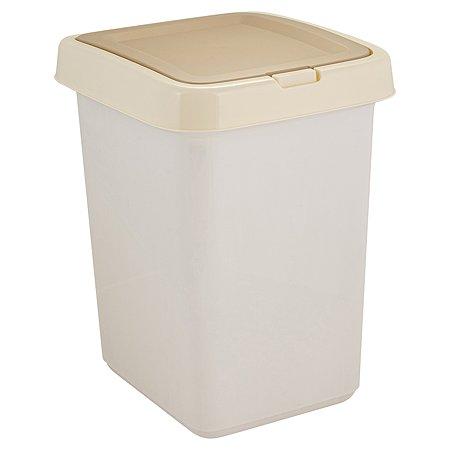 Контейнер для мусора SVIP Квадра с крышкой 14л Кофейный