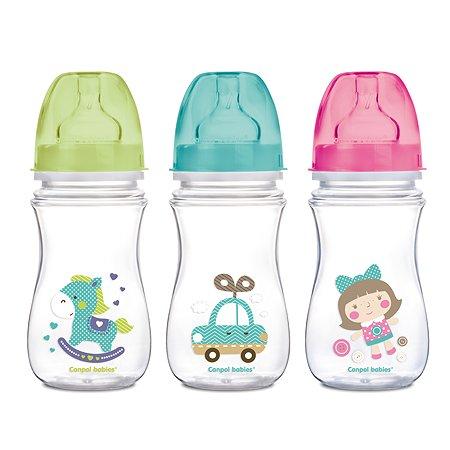 Бутылочка Canpol Babies антиколиковая с широким горлышком 240 мл в ассортименте