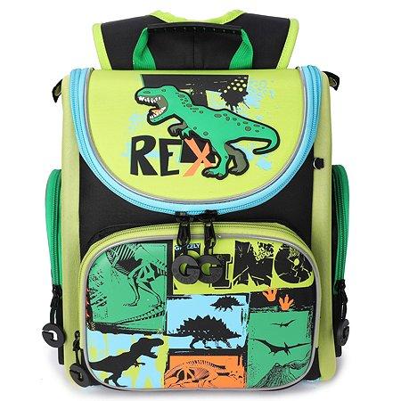 Рюкзак школьный Grizzly Тирекс Черный-Зеленый RA-970-5/1