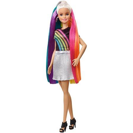 Кукла Barbie с радужной мерцающей прической FXN96