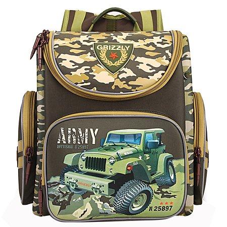 Рюкзак школьный Grizzly Армия Оливковый RA-870-3/1