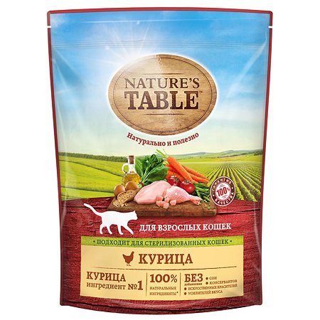 Корм сухой для кошек Natures Table 650г с курицей