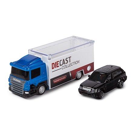 Грузовик Mobicaro Scania с маш.1:64 Range Rover синий