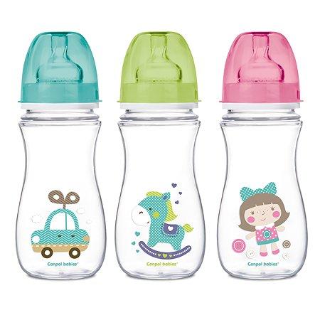 Бутылочка Canpol Babies антиколиковая с широким горлышком 300 мл в ассортименте