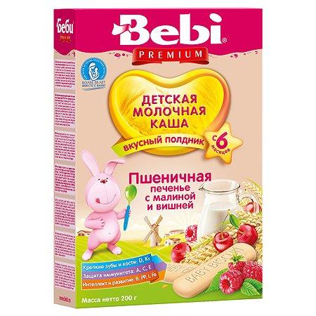 Каша Bebi Premium молочная пшеничная печенье с малиной и вишней 200 г с 6месяцев