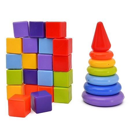 Набор развивающий Росигрушка Ассорти 21 кубик+пирамидка 6146